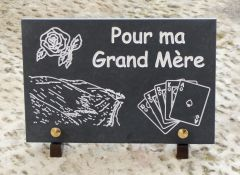 plaque funeraire a theme ,dune du pilat,rose,cartes